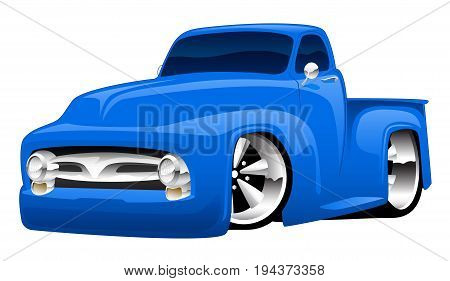 Classic American hot rod pick-up truck cartoon illustration
