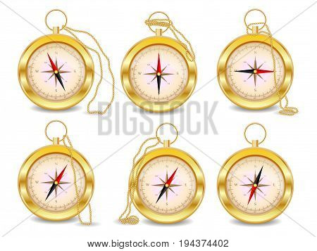 A Set Of Six Gold Compasses With A Wind Rose On A Gold Chain. North, South, West, East, Geography, C