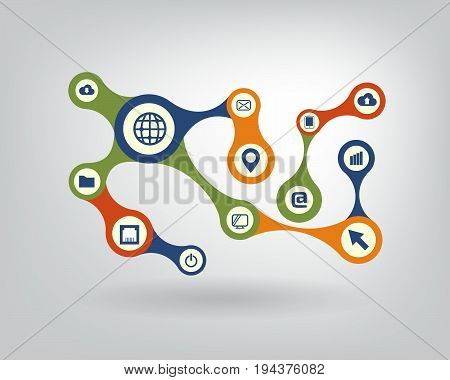 Growth abstract background with integrated metaballs icon for digital internet network connect communicate technology global concepts. Vector interactive illustration