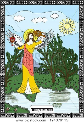 the illustration - card for tarot - the Temperance.