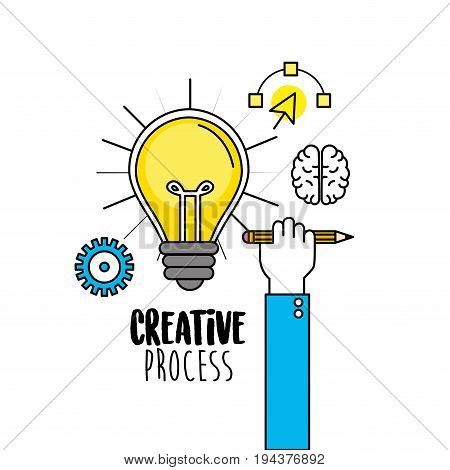 bulb with hand with pencil and creative icons vector illustration
