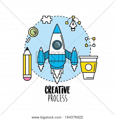 rocket with pencil and creative process icons vector illustration