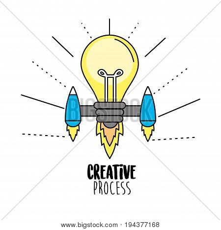 bulb with thrusters to creative process vector illustration