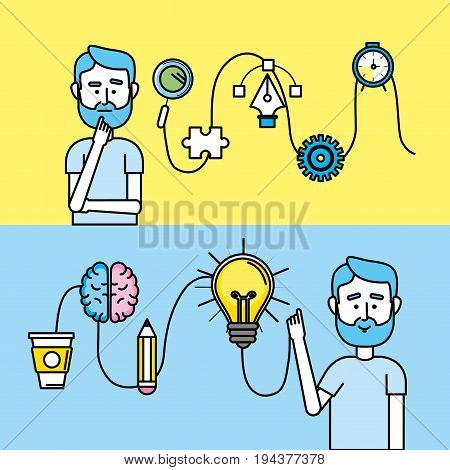 set creative process with ideas icons design vector illustration