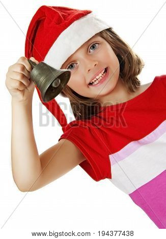 little girl with christmas bell - white background