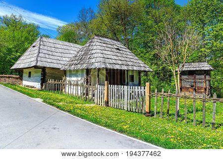 Spectacular ancient houses Astra village museum Sibiu Transylvania Romania Europe