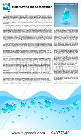 Water Saving and Conservation Template. Filler text and elements