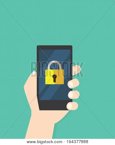 Lock icon on mobile phone vector illustration Hand hold smart phone screen with yellow lock application and savesecurity concept