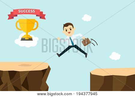 Business man jump and cross mountains to get trophy and success on cloud vector illustration.Business man cartoon design cross to succession.