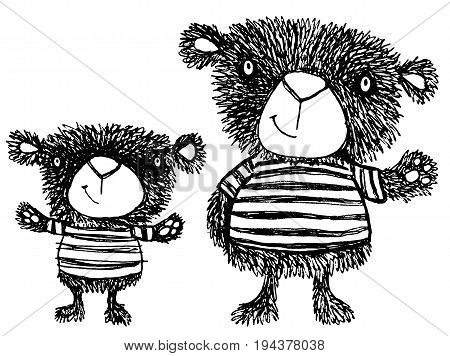 Rough hand drawn vector sketch of two quirky teddy bears