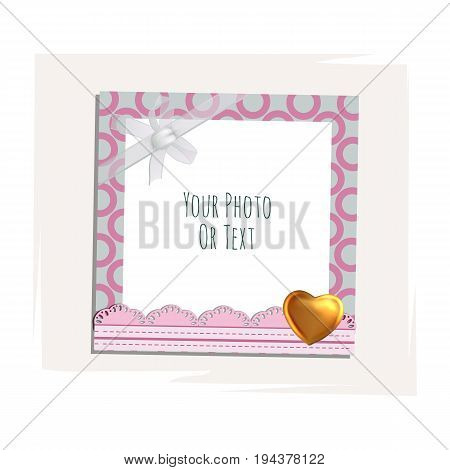 Photo frame with heart, love and romantic. Album template for couples, kid, girl, family or memories. Scrapbook concept, vector illustration.