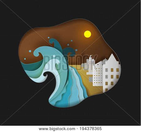 The tsunami is attacking the seaside town.cute paper art vector illustration paper cut