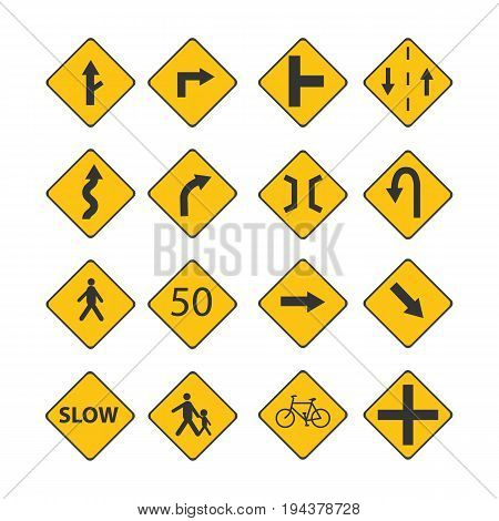 Set Traffic black signs illustration with street signbicycle signtext signpeople sign isolated white background