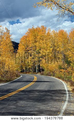 A mountain road on the way to Aspen, Colorado.  It is Fall and the leaves have started to change.