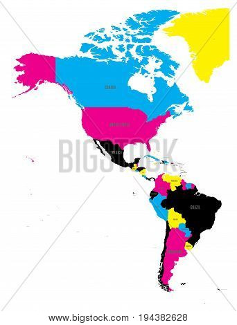 Political map of Americas in CMYK colors on white background. North and South America with country labels. Simple flat vector illustration.