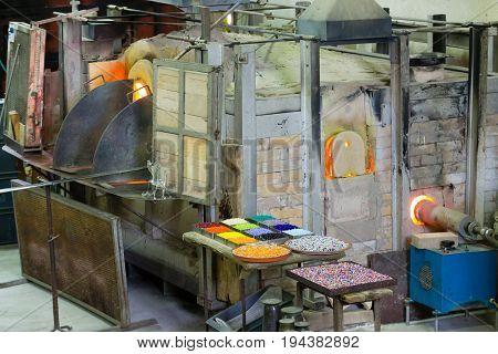 Craftsmanship of glass. Glass furnace viewMurano VeniceItaly.
