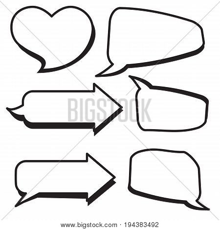 Set of cartoon text boxes with arrow shapeheart shape vector illustration.Bubbles blank speech.