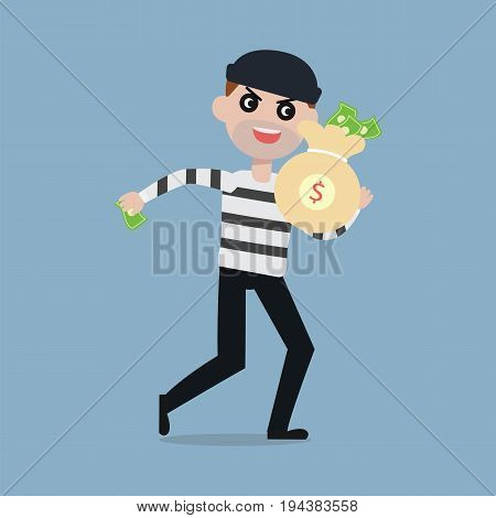 Burglar running away with bag of money Thief cartoon character steal money concept vector illustration