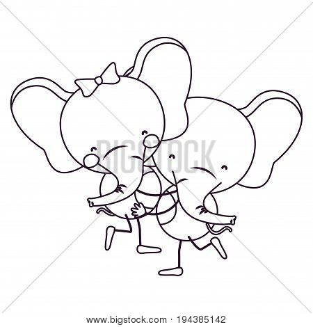 sketch contour caricature with couple of elephants one carrying the other cute animals love vector illustration
