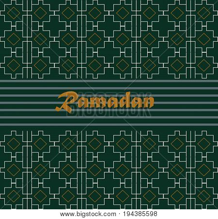 Ramadan Kareem illustration with calligraphy on green background. vector green ramadan kareem design background