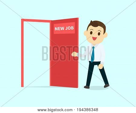 Employee walk and open red door with new job text vector illustration.Business man cartoon character design happy to new job