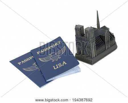 Metal model of Notre Dame and passports - path included
