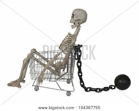 Shopping cart with Skeleton with Ball and Chain - path included