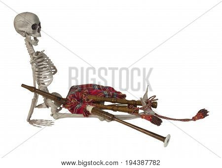 Skeleton with Traditional Scottish Bagpipes with Reeds and Bag - path included
