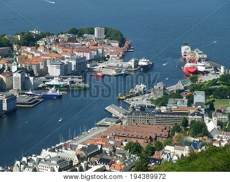 Stunning aerial view of Bergen's harbor and the city center of Bergen, Hordaland, Norway poster