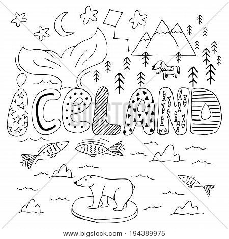 Iceland Hand Drawn Cartoon Map. Cute Vector Illustration With Travel Landmarks, Animals And Natural