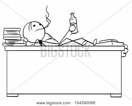 Cartoon vector stick man stickman drawing of businessman boss office worker sitting behind his desk with legs on the table smoking cigar and with bottle in his hand.