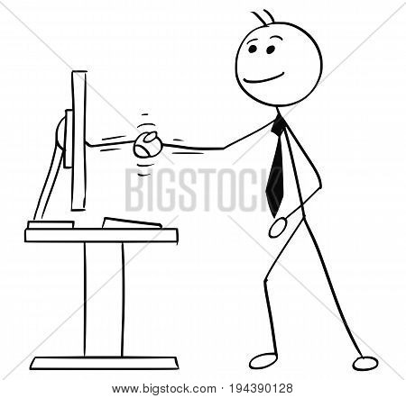 Cartoon vector stick man stickman drawing of business man shaking his hand with computer display screen as concept of making a deal contract agreement treaty remotely over Internet.