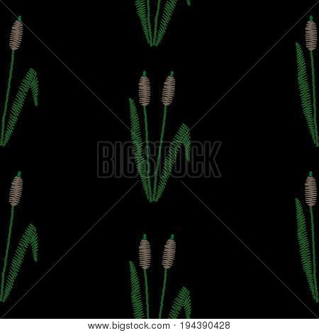Seamless pattern with embroidery stitches imitation rush and green leaf. Shrub rush embroidery pattern for printing on fabric paper for scrapbook gift wrap.
