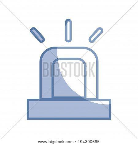 silhouette light siren to emergency danger security vector illustration