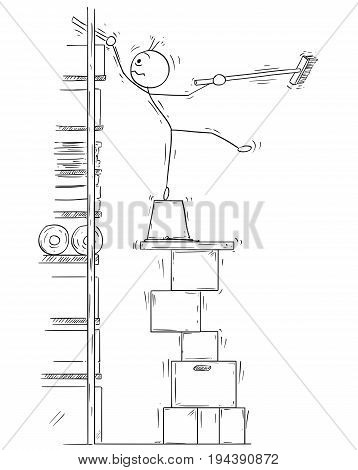 Cartoon vector stick man stickman drawing of man balancing on the top of the high stack of paper boxes with broom broomstick in his hand