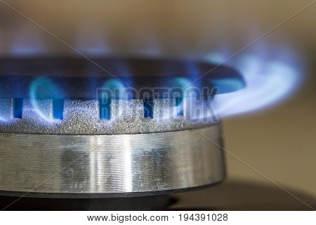 Natural gas blue flames burns on the kitchen stove hob close up photo with shallow DOF