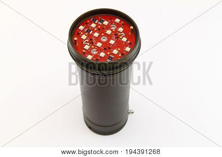 Black LED torch isolated on white background