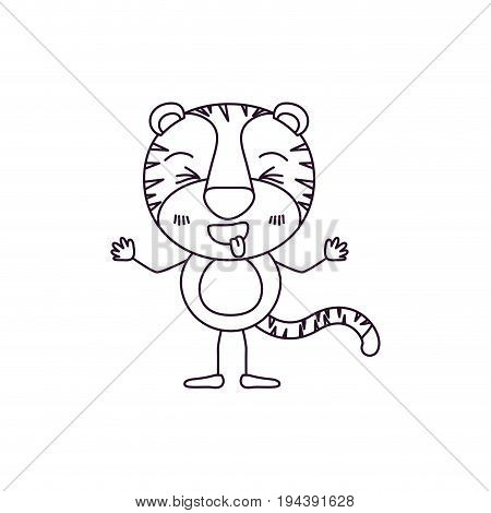 sketch contour caricature of cute tiger disgust expression and sticking out tongue vector illustration