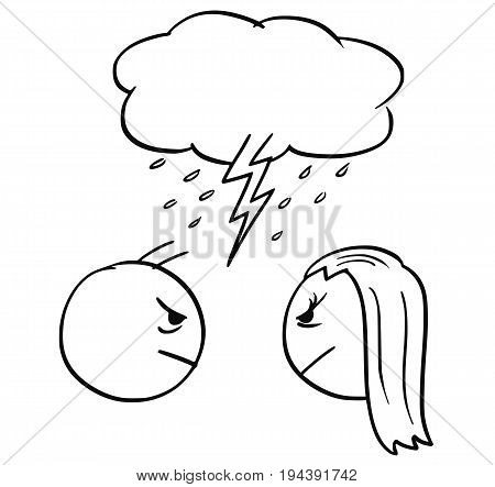 Cartoon vector of man and woman in quarrel fight with cloud and lightning bold above their heads