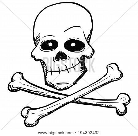 Vector cartoon of danger poison or pirate sign of human skull and two bones crossed