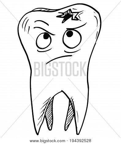 Vector cartoon of unhappy decayed carious tooth looking on the decay caries