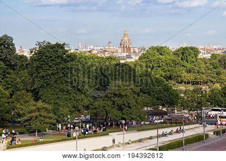 PARIS, FRANCE - JUNE 24, 2017: View of the famous Dome of Les Invalides (The National Residence of the Invalids) from Place de Trocadero in Paris.