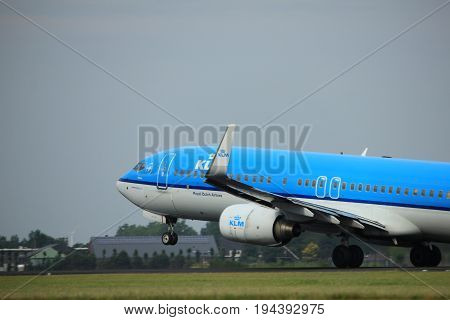 Amsterdam the Netherlands - July 6th 2017: PH-BXF KLM Royal Dutch Airlines Boeing 737-800 takeoff from Polderbaan runway Amsterdam Schiphol Airport
