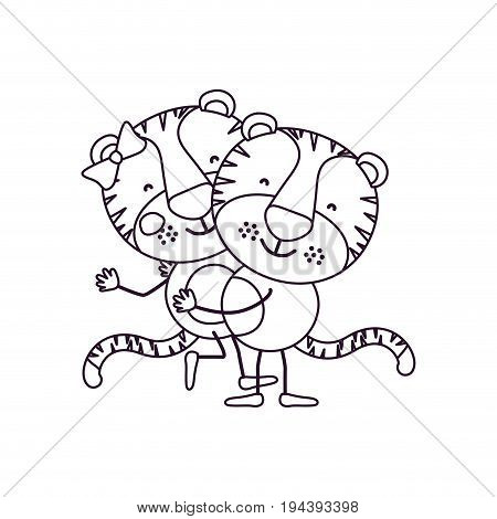 sketch contour caricature with couple of tigers one carrying the other cute animals love vector illustration