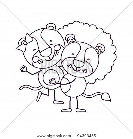 sketch contour caricature with couple of lioness and lion one carrying the other cute animals love vector illustration
