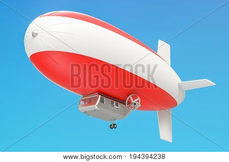 Airship or dirigible balloon with Austrian flag 3D rendering