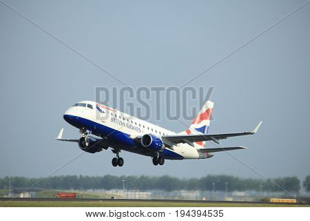 Amsterdam the Netherlands - July 6th 2017: G-LCYD BA CityFlyer Embraer ERJ-170STD takeoff from Polderbaan runway Amsterdam Schiphol Airport