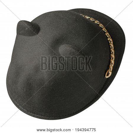 Fedora Hat. Hat Isolated On White Background . Black Hat