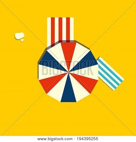 Beach parasol or sun umbrella icon. Top view of a open vintage beach umbrella.