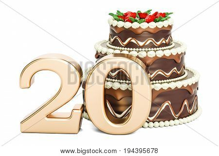 Chocolate Birthday cake with golden number 20 3D rendering isolated on white background
